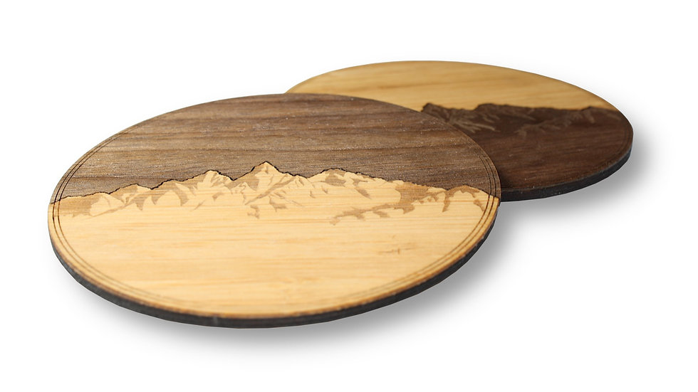 "Wooden Coasters 4"" (Sawtooth Mountains) 4-Pack"