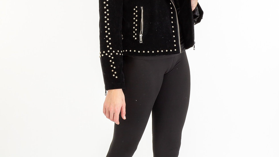Faux Suede With Studded Trim Jacket