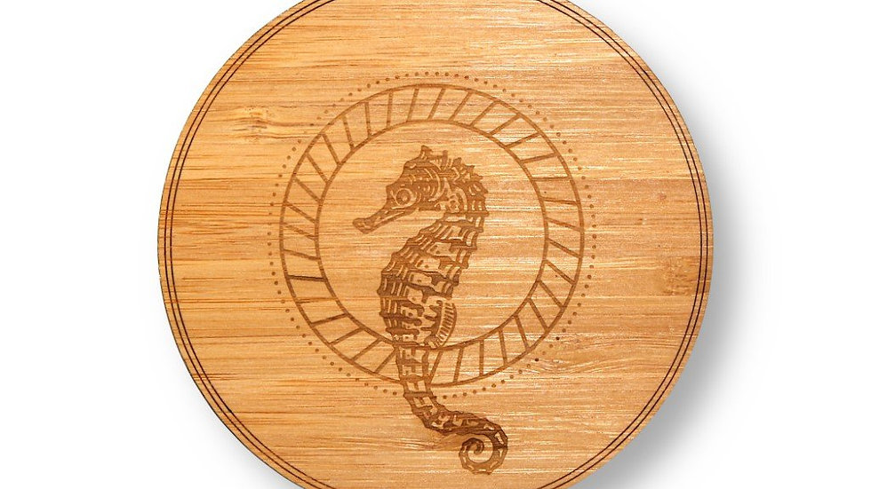 """Wooden Coasters 4"""" (Sea Horse in Bamboo) 4-Pack"""