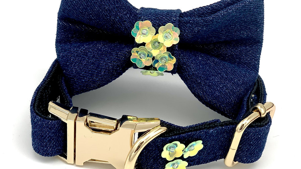 Green Denim Garden Flowers Collar & Bow Tie Set