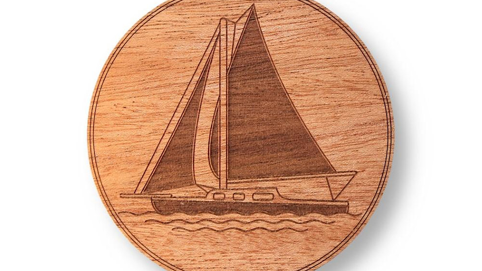 "Wooden Coasters 4"" (Hot Air Balloon in Mahogany) 4-Pack"