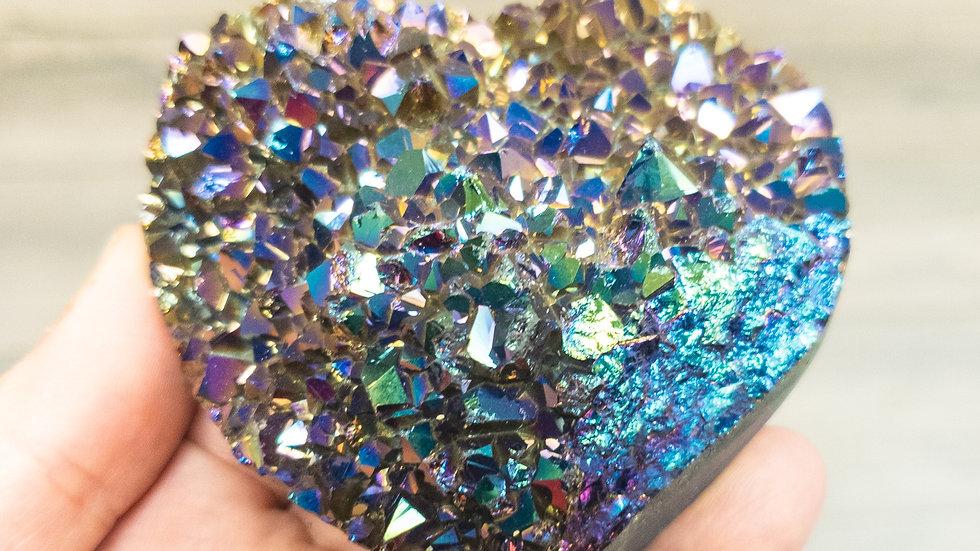 Rainbow Amethyst Druzy Heart-Medium