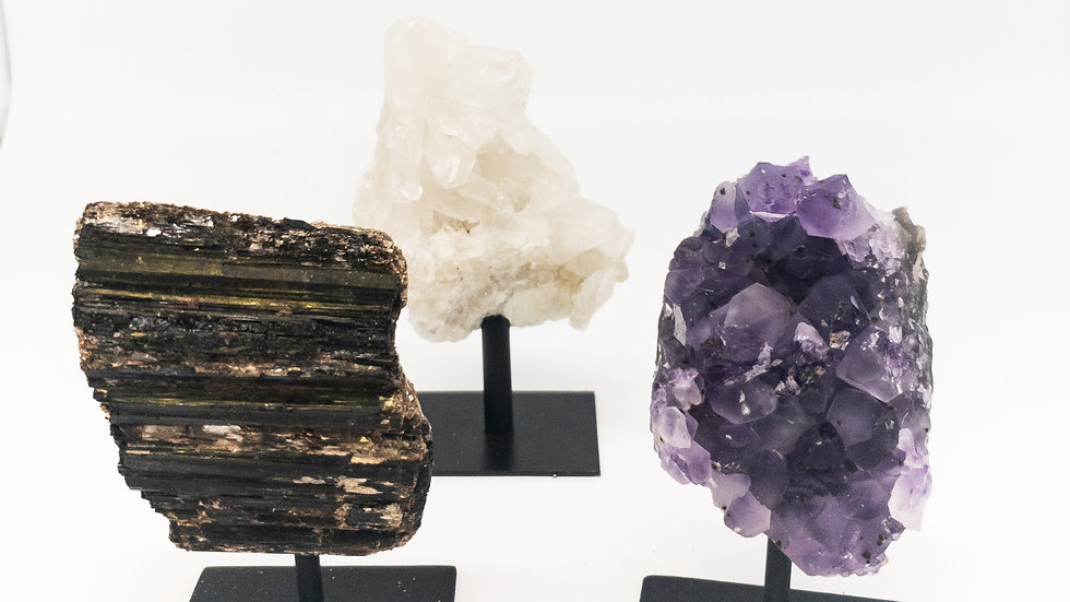 Black Tourmaline, Blue Kyanite, Crystal Quartz, Amethyst Crystals on Stands