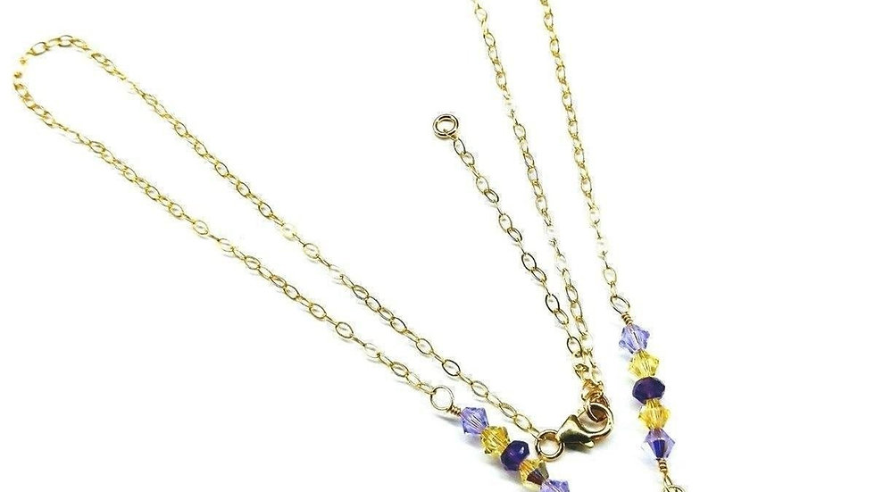 Lavender Pink Candy Jade Drop Gold Filled Necklace