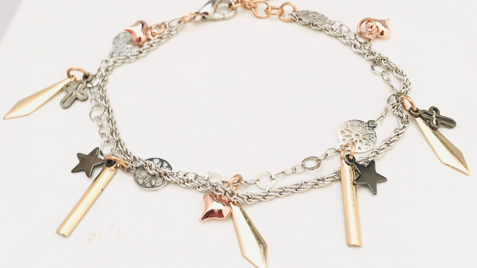 Gold Spikes Bracelet With Black Star, Bronze Crosses and Rose Gold Heart Charms.