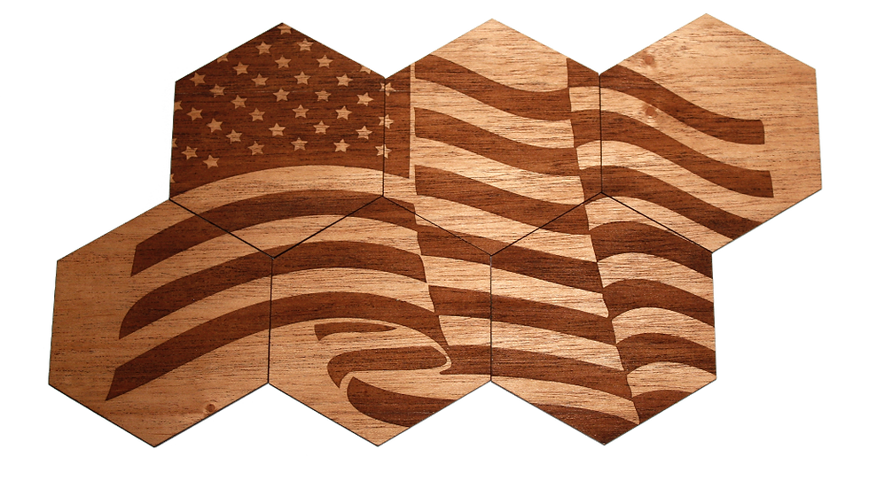 Solid Wood Coasters (6-Pack - American Flag)