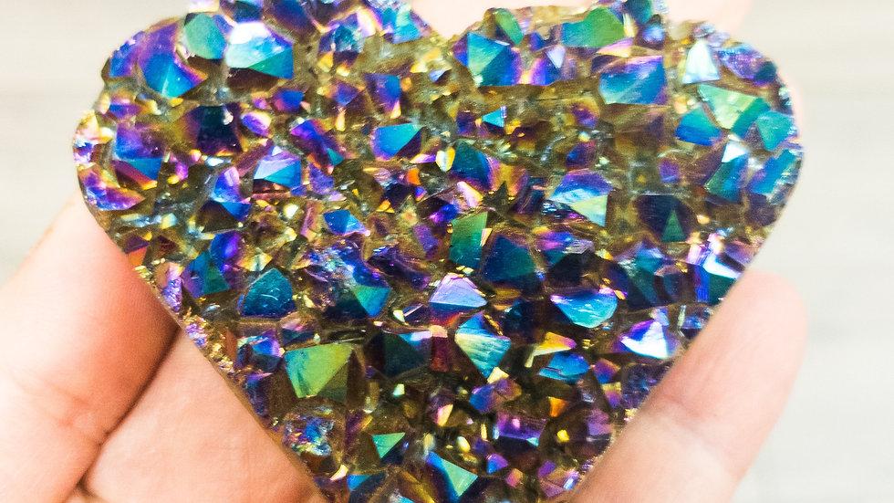 Rainbow Amethyst Druzy Heart
