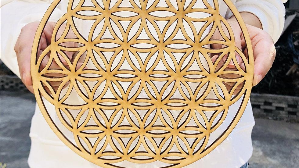 Flower of Life Energy Mat Wood Slice Base