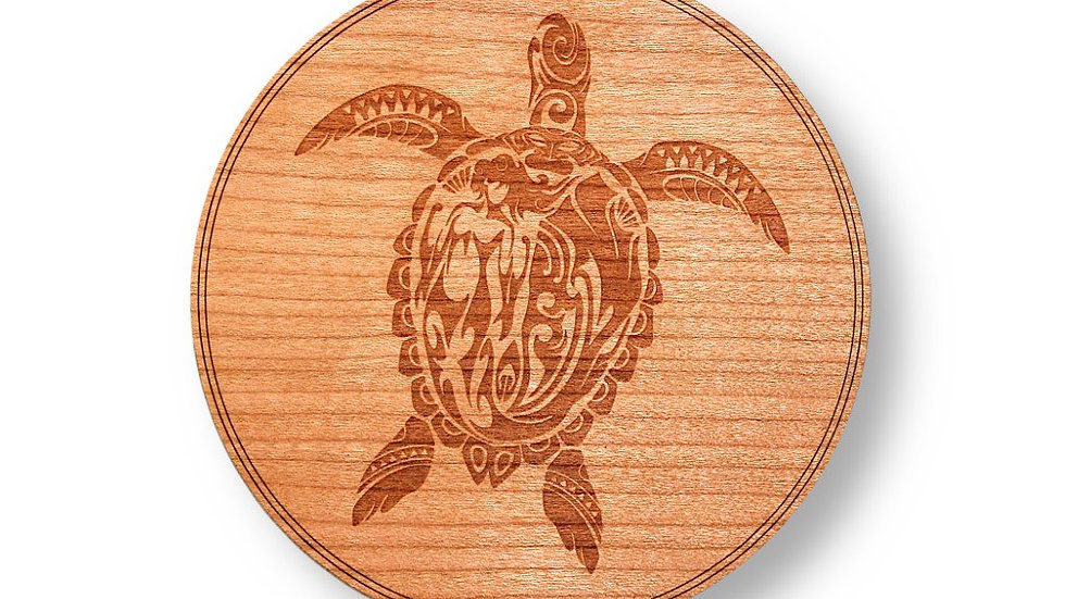 """Wooden Coasters 4"""" (Sea Turtle in American Cherry) 4-Pack"""
