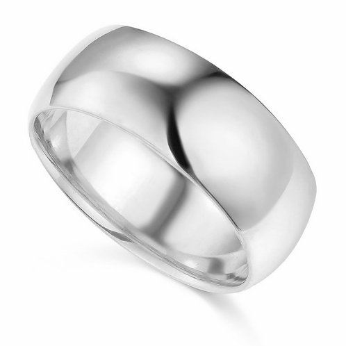 14k White Gold 8-mm Comfort-fit Polished Wedding Band