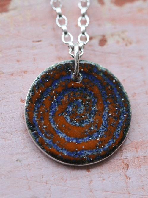 Silver Enamel Necklace - Sandy Swirl