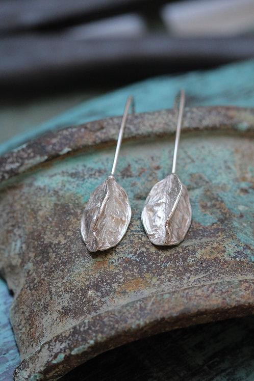 Silver Agapanthus Seed Pod Drop Earrings