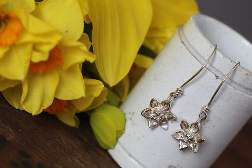 Silver Daffodil Narcissi Drop Earrings