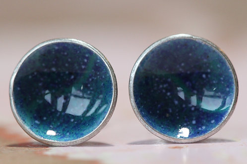 Silver Enamel Studs - Deep Marble Blue & Turquoise