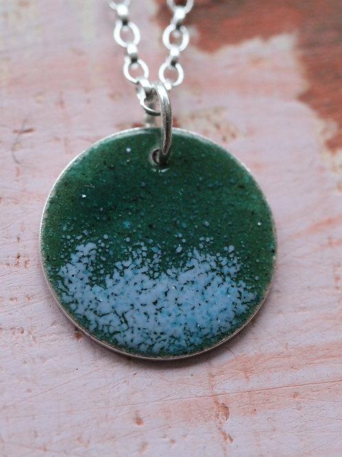 Silver Enamel Necklace - Blue Sea Spray