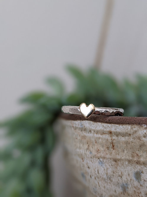 CHUNKY 9CT GOLD & SILVER HEART RING