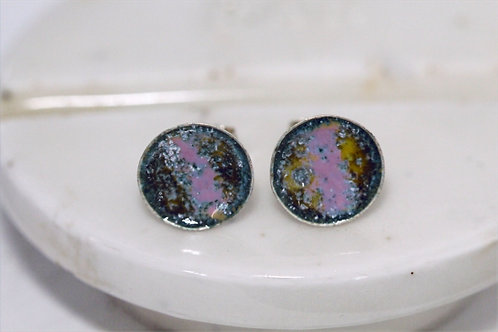 Silver Enamel Studs - Blues Yellows Pink and Whites