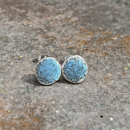 HAMMERED SILVER ENAMEL STUDS - RUSTIC BLUE