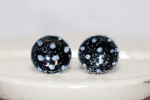 Silver Enamel Studs - Black & White Polka Dot