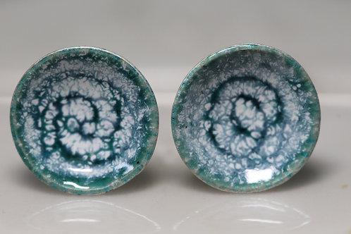 Silver Enamel Studs - Turquoise Sea Foam Swirls