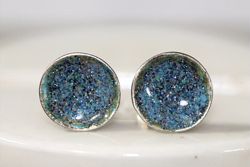 Silver Enamel Studs - Clusters of Blues and Mauves & moss Green