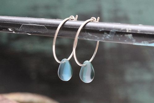 Silver Mermaids Tears Sterling & Green Marbled Czech Glass Hoop Earrings