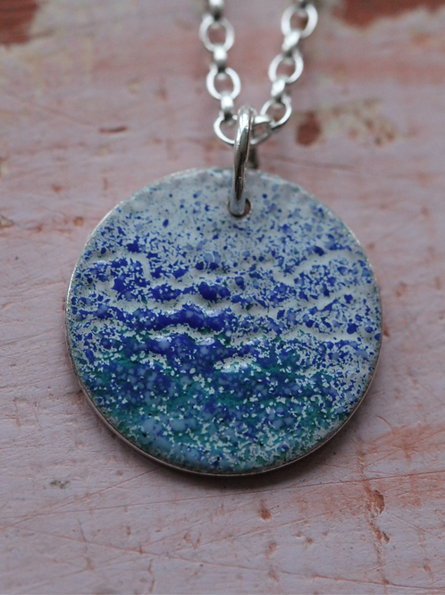Silver Enamel Necklace - Ocean Waves