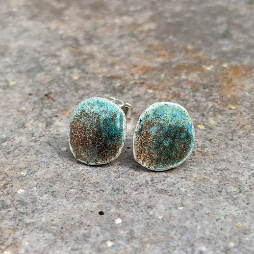 HAMMERED SILVER ENAMEL STUDS - WEATHERED LAND