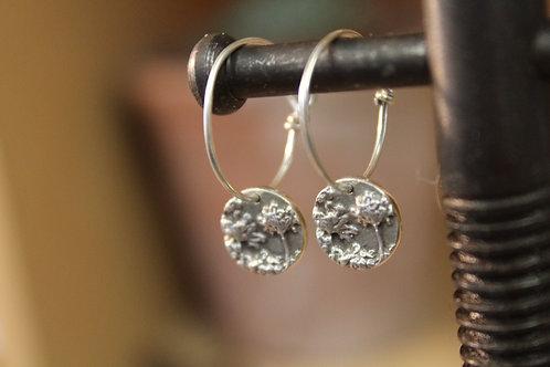 Silver Agapanthus Disc Hoop Earrings