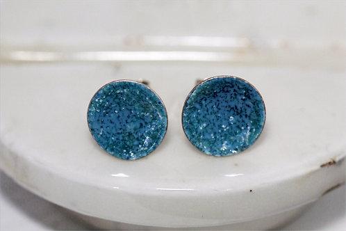 Silver Enamel Studs - Aqua Blues & Greens