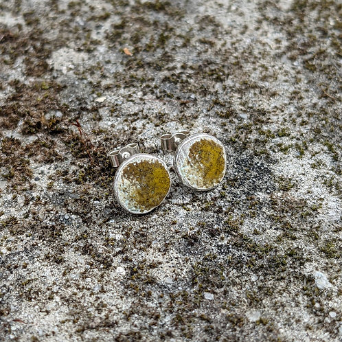 HAMMERED SILVER ENAMEL STUDS - DEEP MOSSY YELLOW