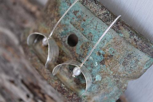Silver & Pearl Mistletoe Earrings