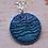 Thumbnail: Silver Enamel Necklace - Turquoise Blue Waves.