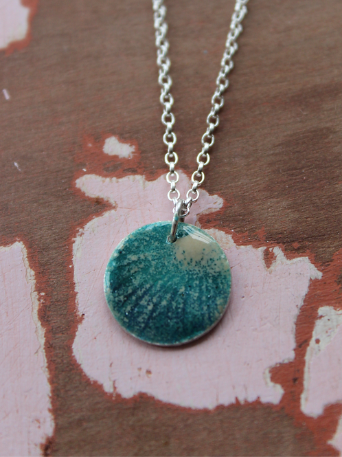 Silver Enamel Necklace - Sun Beams on Turquoise
