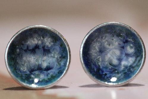 Silver Enamel Studs - Tie Dye White Wash