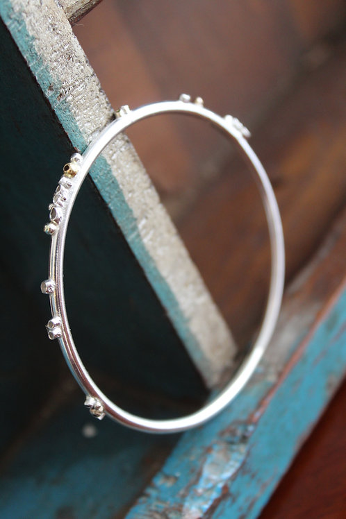 Silver & Gold Barnacle Bangle  Fully Hallmarked