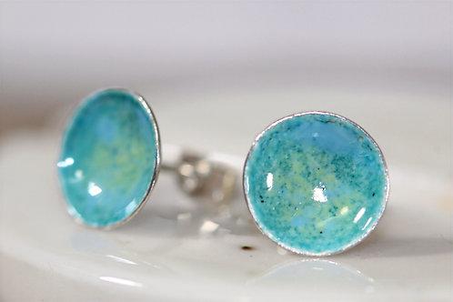 Silver Enamel Studs - Aqua Green & Sky Blue