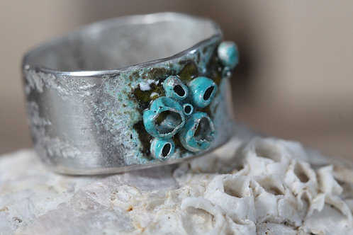 Silver Enamelled Barnacle Ring - Silver Sapling Jewellery