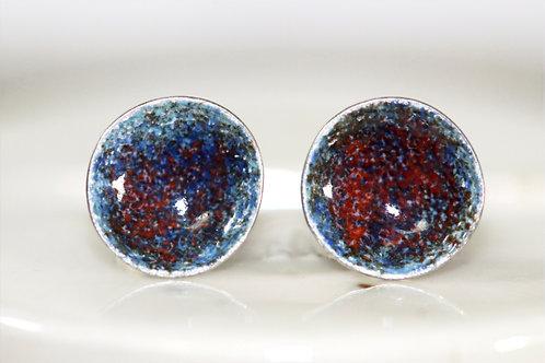 Silver Enamel Studs - Vivid Blue & Coral Reds
