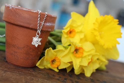 Silver Daffodil Narcissi Necklace