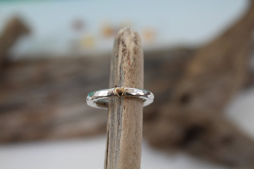 Chunky Silver & 9ct Gold Rustic Heart Ring