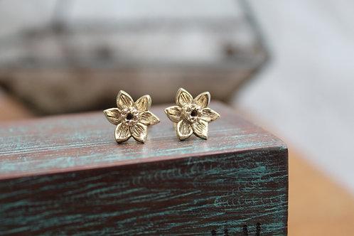 9ct Gold Daffodil Narcissi Stud Earrings