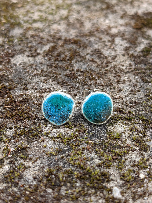 HAMMERED SILVER ENAMEL STUDS - DEEP TURQUOISE BLUES