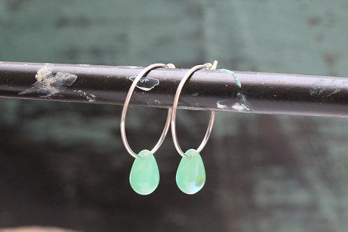 Silver Mermaids Tears Hand Made Sterling & Green Aqua Czech Glass Hoop Earrings