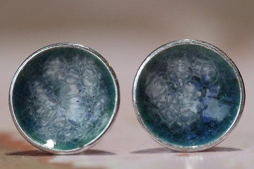 Silver Enamel Studs - Turquoise Sea Wash