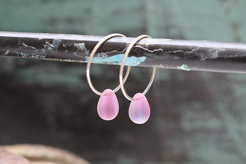 Silver Mermaids Tears Hand Made Sterling & Purple Czech Glass Hoop Earring