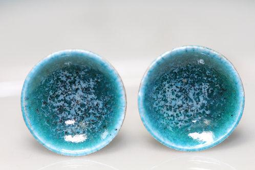 Silver Enamel Studs - Turquoise Sea Splash
