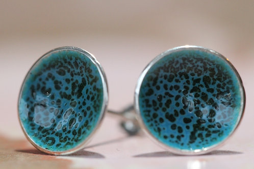 Silver Enamel Studs - Speckled Turquoise