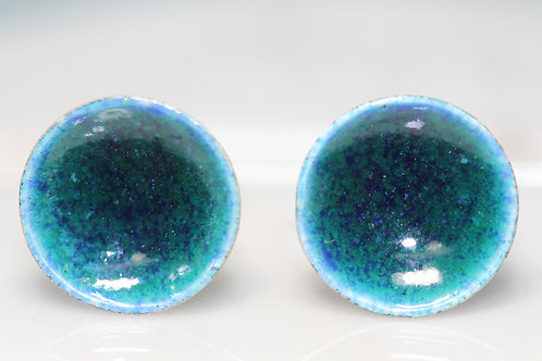 Silver Enamel Studs - Deep Turquoise Sea Greens