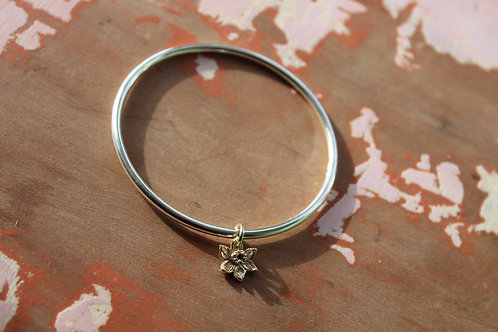 9ct Gold Daffodil & Silver Bangle